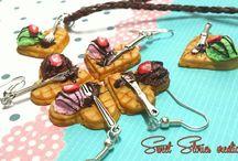 Miniature Food jewelry - sweet jewelry - polymer clay Food jewelry - chocolate cake donuts candy sugar cookie Miniature Food jewelry