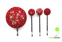 Red Accessories - Colorin Colorado. / We love colors and colors are our main motivation. We always select different color schemes for our collections. Red fabrics covering the buttons are one essential color for our hairpins, hairbands, earrings, and other accessories we use at Colorin Colorado.