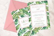 Destination/ Beach Wedding / Invitations, place cards, seating charts for beach weddings, tropical island weddings, with palm leaves, hibiscus...