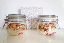 Healthy breakfast / Yoghurt musli with strawberries and bananas