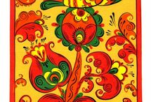 Борецкая роспись (Borets ) / Борецкая роспись Село Борок возникло на берегу Двины при заселении двинского края новгородцами. Наиболее часто используемые цвета в росписи: красный, зеленый, к
