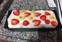 Ladyfinger cake with strawberry and banana decoration