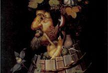 Guiseppe Arcimboldo / Giuseppe Arcimboldo, Arcimboldi ou Arcimboldus (vers 1527 à Milan - 11 juillet 1593 à Milan) est un peintre maniériste, célèbre comme auteur de nombreux portraits phytomorphes suggérés par des végétaux, des animaux ou des objets astucieusement disposés.