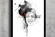 Design: portrætter, portrait, kunst, art, print, gave, gift