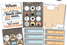Halloween Party! / halloween, halloween party, halloween decorations, halloween wine, halloween beer, fall beer, fall decorations, fall birthday party, Party Box Design, fall recipes, pumpkins, water bottle labels