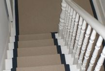 Stair Runner / Client: Private Residence in North London. Brief: To install 100% Wool loop pile carpet with contrasting cotton herringbone border to stairs and landings.
