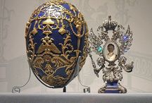 Faberge Eggs / The story began when Tsar Alexander III decided to give a jeweled Easter egg to his wife the Empress Marie Fedorovna, in 1885 to celebrate the 20th anniversary of their betrothal. It is believed that the Tsar, who had first become acquainted with Fabergé's virtuoso work at the Moscow Pan-Russian Exhibition in 1882, was inspired by an 18th century egg owned by the Empress's aunt,
