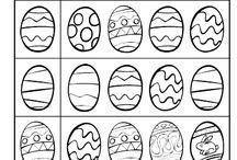 Colorear la pareja del huevo de Pascua = PLÁSTICA .
