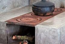 casa de pedra e fogão a lenha
