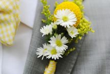Grey and yellow wedding flowers