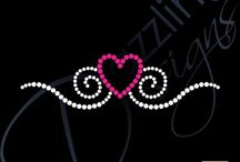 Heart Rhinestone Transfers / Heart Rhinestone Transfer Bling Designs