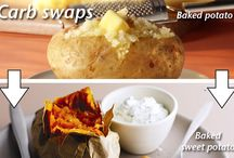 Carb swappers: Healthy swaps for your usual sides / Trying to eat a little more healthily? There's no need to completely change your meal. By giving your usual sides a little tweak, you can dramatically reduce the calorie and fat content of your meal.  Our carb swapper gives you healthy ideas for alternatives to your usual heavy white carbs. Of course, there is always the brown, wholegrain alternative to carbs such as rice and pasta, which do significantly improve the healthiness of your meal, these carb swaps go one step further than that.