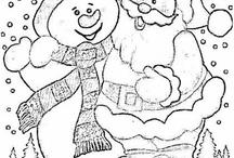 Mikulásos és hóemberes színező