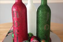 christmas decorations with wine bottles