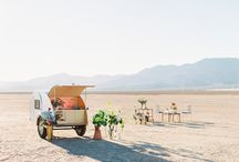 Concepts: Natural Desert Pop Up Wedding / Natural Orange and Purple Wildflower looks with desert plants, amid accents of cholla cactus, and retro metallic chairs.Cactus and Lace Weddings, Florapop, and Yukon Pizza Popup combine in an epic way to add fun, and a delightful quirky, vintage retro,  whimsical feel to this Las Vegas Desert Wedding.