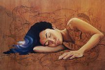 Ink on Wood Paintings
