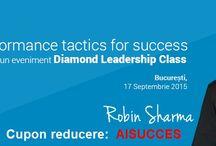 ROBIN SHARMA I BEST PERFORMANCE TACTICS FOR SUCCESS I BUCURESTI, 17 SEPTEMBRIE 2015 / Evenimentul de leadership al anului 2015 din Romania va fi organizat la Bucureți pe 17 septembrie de compania Diamond Experience, si se va adresa unui public exclusiv, fiind rezervate un numar LIMITAT de locuri!!!  Pentru detalii si rezervari urmați linkul de mai jos, având in vedere si faptul ca dacă veți folosi Cuponul AISUCCES puteți beneficia de o reducere de 10% din valoarea oricărui tip de tichet.  http://robinsharmabucuresti.ro/