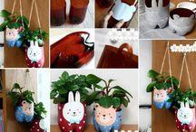 vasi decorati piante