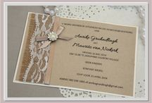 NoteACard stationary / Wedding invitations with lace, hessian, satin, twine and pearls.