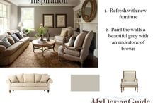 Traditional Living Rooms / How to create a traditional living room.  A great paint color like Shale861 from Benjamin Moore, mouldings and trim and this client wanted a neutral palette.  Neutral living room.