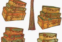 avec des tampons / valises et champignons  pour déco de cartes