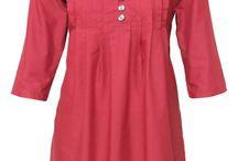 Indian Ethnic Red Cotton Top / Kurti / Kurta / Kurthi / Kurtha / Dress - Ladies…