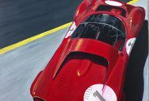 LA LIGNE JAUNE / FERRARI 330 P 3  Peinture acrylique sur toile Ferrari  30x30