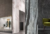Mega Marble / For designers who love the brilliant look of marble but loathe the headaches associated with it, porcelain tile is a no-brainer. Digital printing has become so advanced that it's hard to tell whether the material is calacatta or ceramic, even after touching the surface. Being stain, scratch and chemical resistant, it gives clients freedom from fear (especially of red wine) and provides a low maintenance and low cost alternative to the precious material.