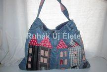 Recycled Jeans Bag / Használt ruhákból és farmerekből készített táskák és kisebb lakásdekorációk. Bags and little things from recycled jeans and clothes by handmade. Handmade by Ruhak Uj Elete (New Life of Clothes)