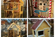 DIY Kid house with busy wall by pallets