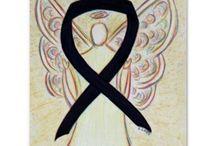 Black Awareness Ribbon Support and Art Gifts / The black awareness ribbon color means support for Anti-Gangs, Anti-Terrorism, Melanoma, Mourning, Narcolepsy, Sleep Disorders, Trauma Awareness, and Gun Control.  Let this black awareness ribbon help bring awareness to these causes!