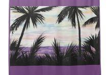 Purple Beach Scene Bath Decor