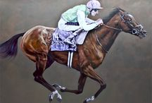 Frankel - Champion of Champions /  A Portrait of Frankel by Devon artist Folley Oil on canvas 6ftx5ft . £26,000 inclusive