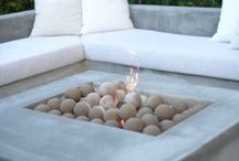 Pool and fire pit