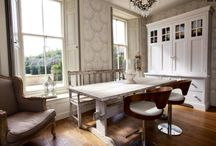 Niche Interior design work / We are a small team of interior designers working in Barnard castle  this is a Georgian Hamilton house we worked on Farrow & Ball Lotus wallpaper looks dramatic and homely in the dining end of this kitchen