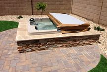 Backyard pool hot tub