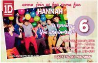 One Direction birthday invitations