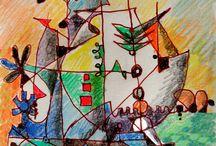 PROMENADE AU PAYS DE L'ART ABSTRAIT NATUREL. Wandering in the land of natural abstract art / Des dessins abstraits créés par l'artiste dans les lieux où il se trouve, environné d'arbres, d'animaux, d'insectes..., en fait des dessins plus vrais et justes que des dessins figuratifs même libres ou psychologiques. Abstract drawings designed by Michel-Constant  where he is staying, surrounded by trees, animals, insects, buildings, factories, people, grass, foods, fruits, sounds, smells, colors. Actually truer and more accurate than even free or  psychological figurative drawings.