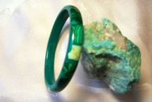 Malachite Gemstone Jewellery / Malachite is always green, Usually in banded tones varying from very dark green to a mellow green. It's said to create wealth