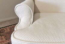 Sherry's Matelasse Slipcover / A custom slipcover in cotton matelasse hugs this wingback's curvy lines beautifully. Fabric: Roth & Tompkins Diamond Matelasse