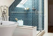 Angled loft shower enclosures