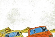 Illustrated old timer cars / car illustrations of 60's, 70's
