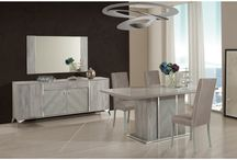 Modern Leather Light Grey Extendable Dinning Collection