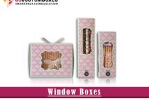 Custom Window Boxes / Custom window boxes with window pane available in custom size, shape, and design for providing best packaging to your product.