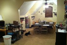 My Craft Room / This is my room where I have Stampin' Up! classes every month. I love my room because it's pretty darn big. It has odd ceilings so unless I get built ins, more storage may be tough - and I don't want it too cluttered! What do you think?