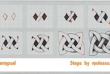 Keltische knopen en Zentangle / Een verzameling van Keltische knopen in combinatie met Zentangle. Inspiratie en step-outs. Veel tangle-plezier!