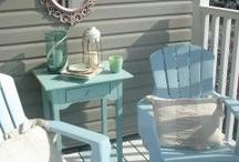 G A R D E N / Pale blue cape cod chairs