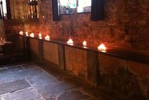 Candle Light / An assortment of square glassware with candles creates a romantic look for this reception.  Montsalvat