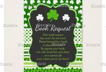 Shamrock Green St Patricks Baby Shower / This collection features a green and white shamrock on a chalkboard frame. The background consists of white shamrocks on green, green stripes and a green polka dot ribbon.
