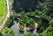 View of Tam Coc from atop Mua Cave / From the top of #MuaCave tourists can get a panoramic view of Tam Coc (Three Caves) – a popular tourist destination in Ninh Binh Province, the best place to travel in #summer.